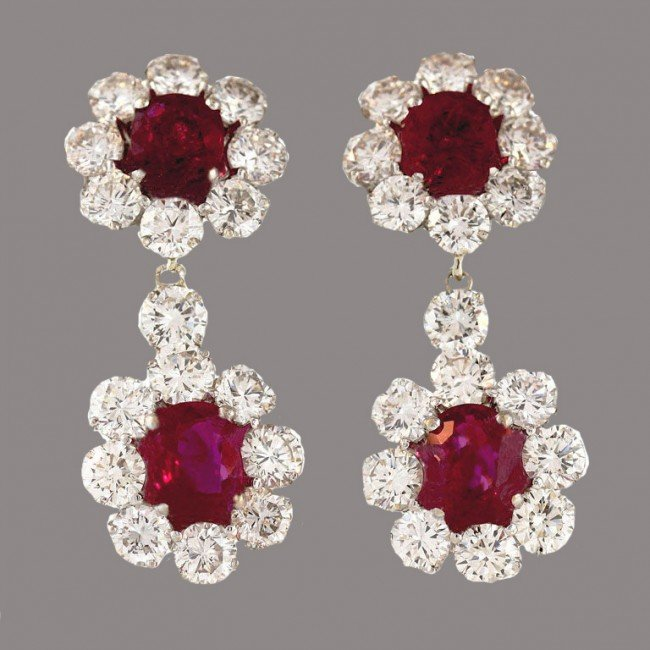 1: Ruby and Diamond Earrings with Detachable Drops