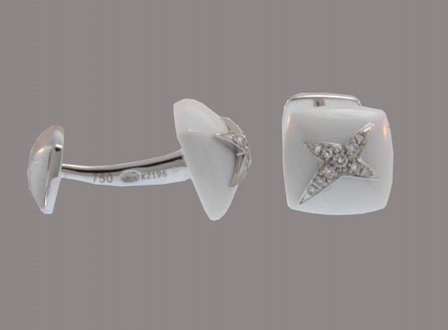 4: Mauboussin Paris Modern White Agate and Diamond Cuff