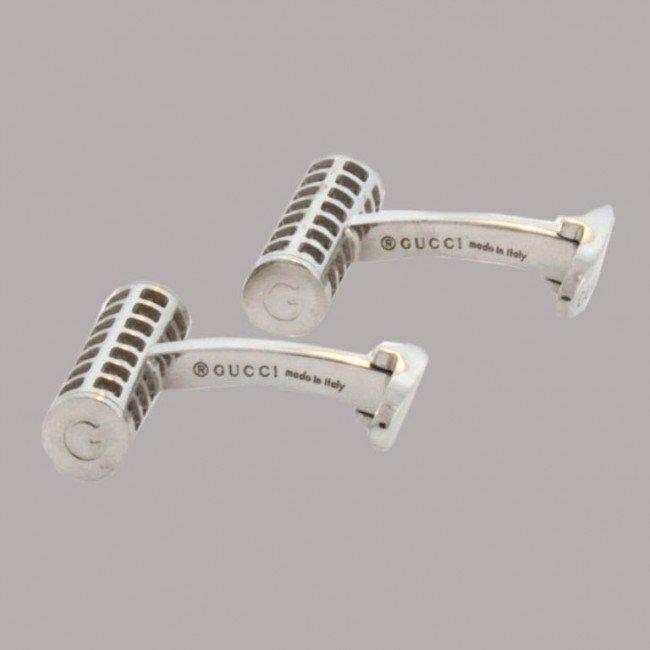 10: Gucci Italy Pierced White Gold Barrel Cufflinks