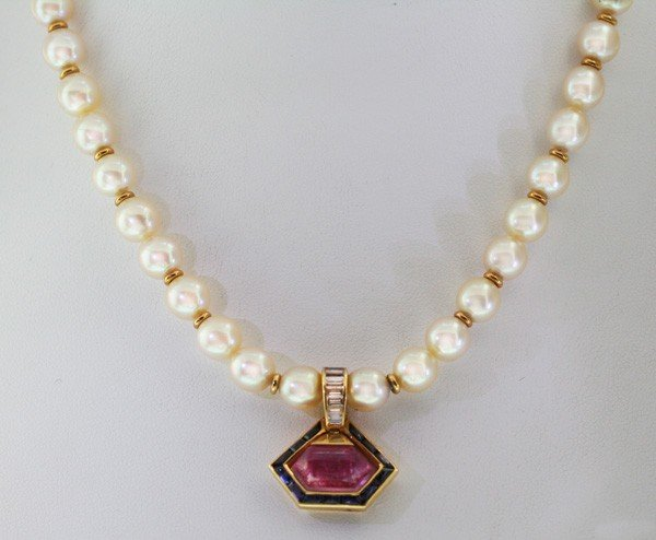 14: Bulgari Italy Pearl Necklace with Pink Tourmaline a