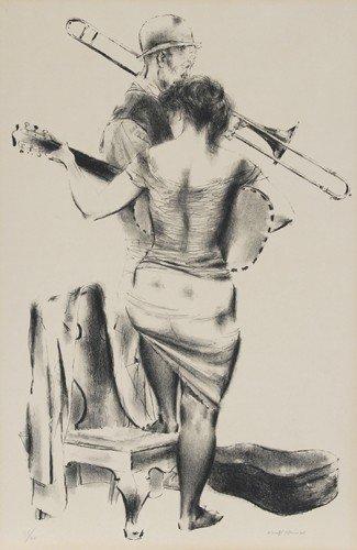 23: Joseph Hirsch, Duo, Lithograph