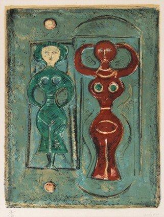 24: Massimo Campigli, Composizione con Due Figure, Lith
