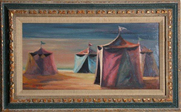 5: P. Alfieri, Tents, Oil Painting