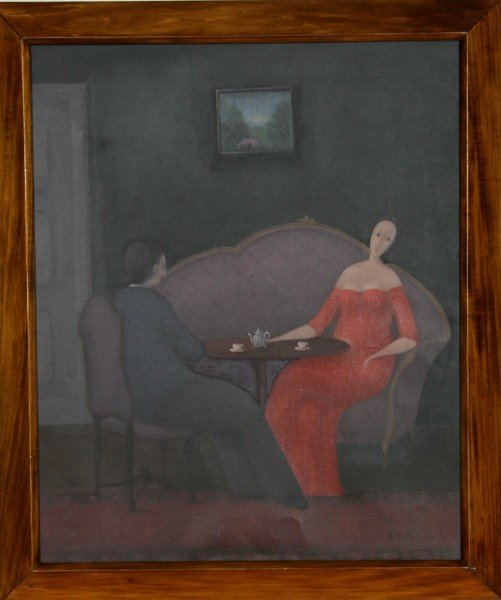 19: Branko Bahunek, Couple, Oil Painting
