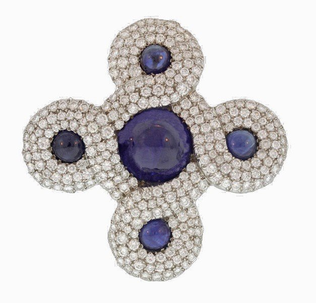 71: Chanel, Sapphire and Diamond Endless Knot Brooch