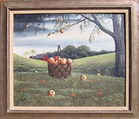 15: Thomas Kerry, Basket of Apples, Oil Painting