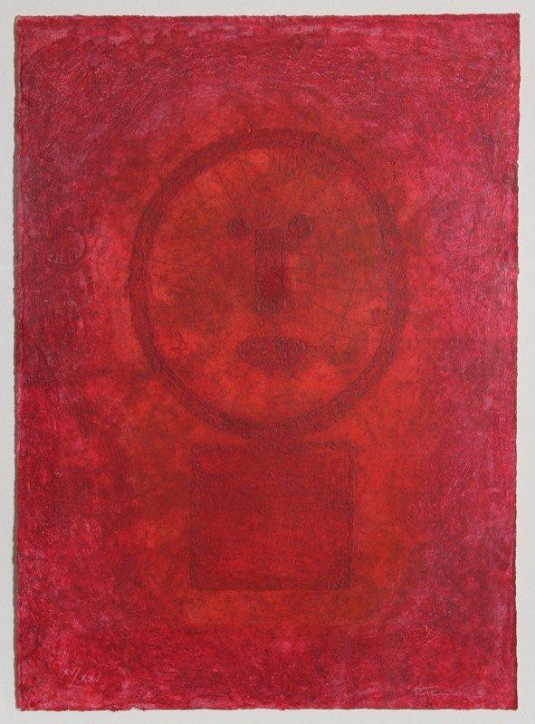 58: Rufino Tamayo, Cara en Rojo (Face in Red), Mixograf