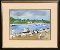 75: Vestie Davis, Coney Island Fisherman, Ink Drawing a