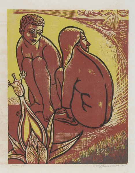 10: Martin Barooshian, Two Nudes by the Beach, Woodcut