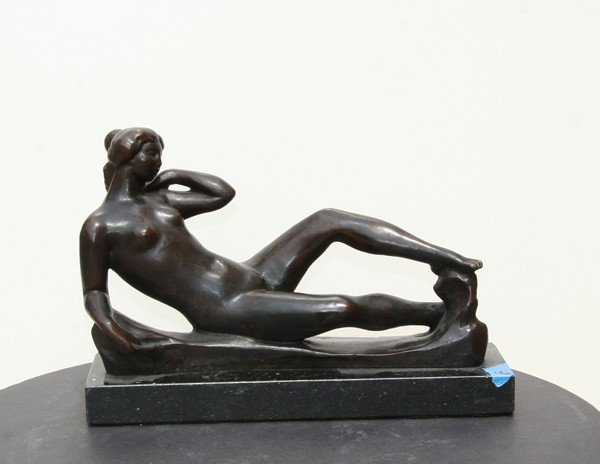 24: Mioul, Reclining Nude, Bronze Sculpture