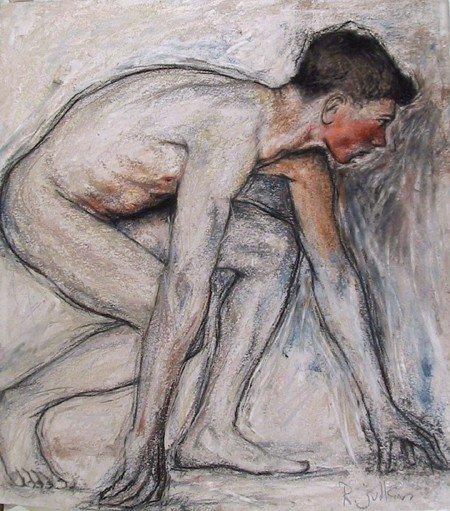 211: Rod Judkins, Nude Figure Study I, Pastel Drawing