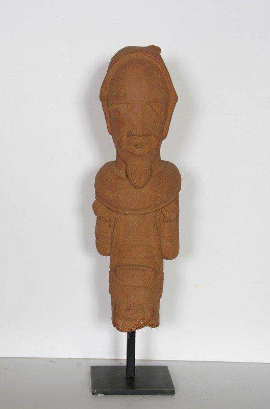 4: Nigerian Nok Head Figurine, Terracotta Sculpture