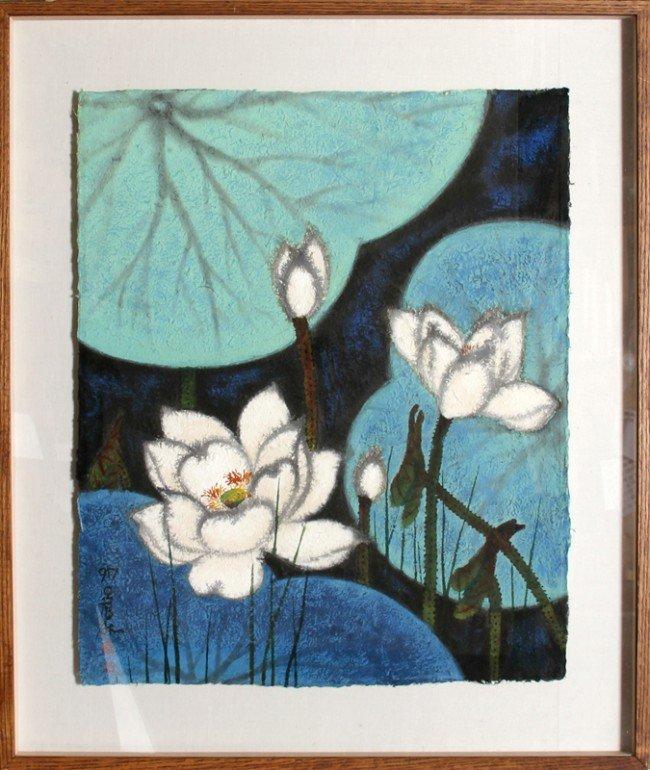 6: Bong-Kyu Ahn, Water Lillies, Natural Pigments