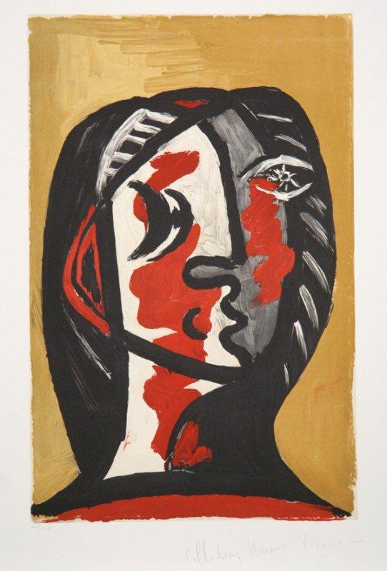 296: Pablo Picasso, Tete de Femme en Rouge, Lithograph