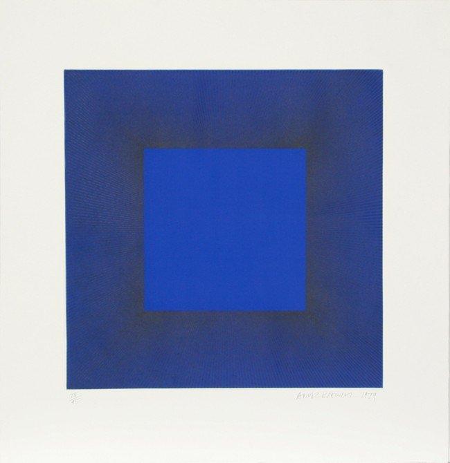 13: Richard Anuszkiewicz, Blue with Black, Op-Art Etchi