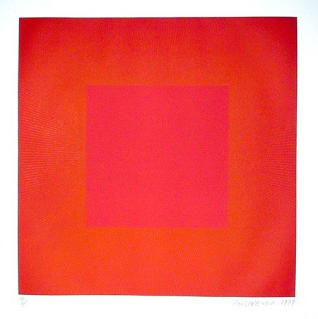 14: Richard Anuszkiewicz, Red with Gold, Op-Art Etching