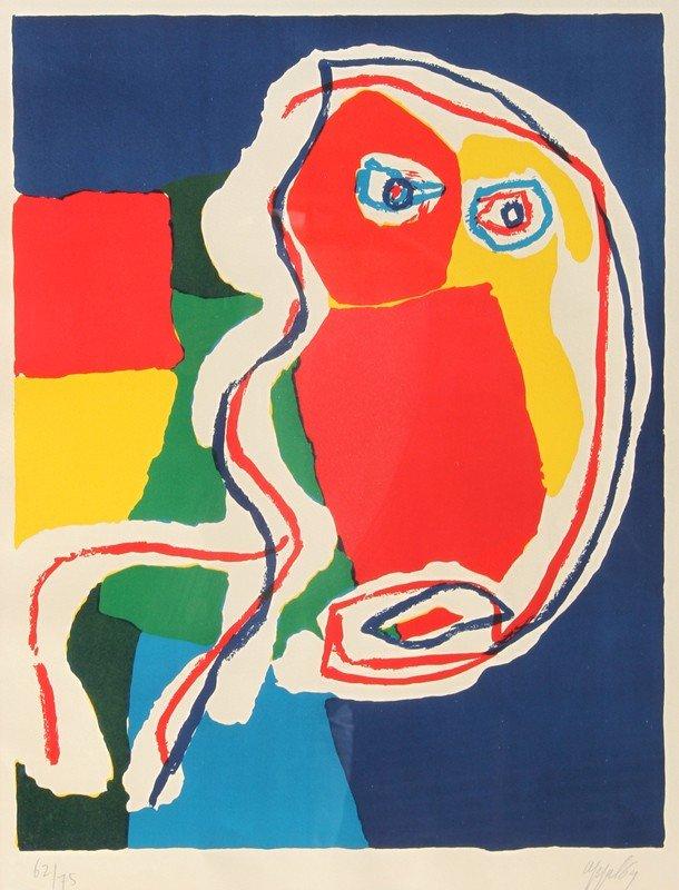 17: Karel Appel, Face, Lithograph