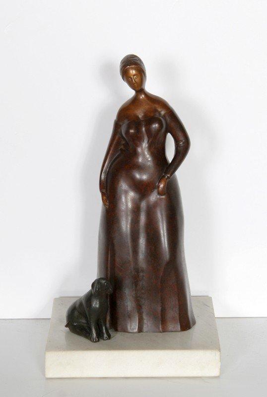 23: Branko Bahunek, Woman with Dog, Bronze Sculpture