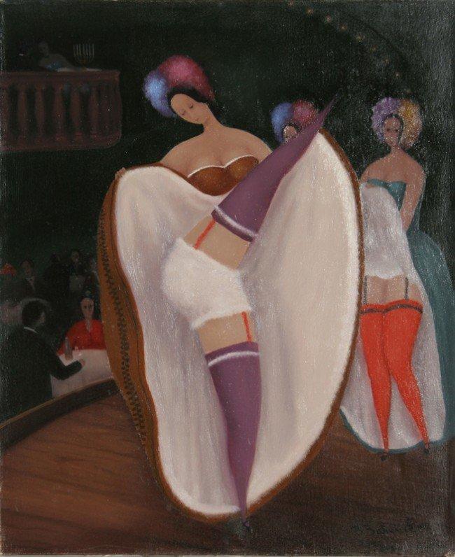24: Branko Bahunek, Cancan, Oil Painting