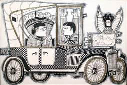 74: Rex Clawson, NYC Car, 1914, Mixed Media Painting