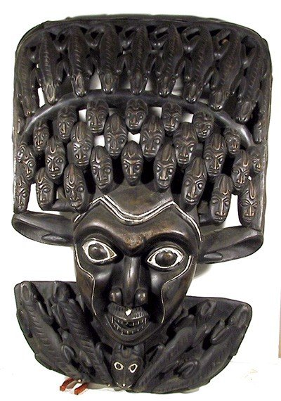 3: African Face with Multiple Faces, Carved Wood Sculpt