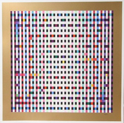 4: Yaacov Agam, Op-Art Geometric Serigraph