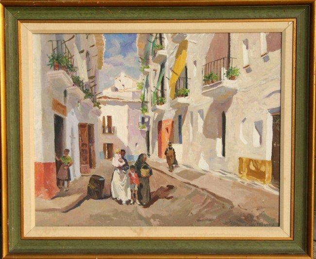 13: Isidro Antequera, Calle Manchega, Oil Painting