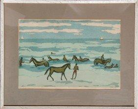 Mildred Dillon, Sea Horses - Nassau, Woodcut