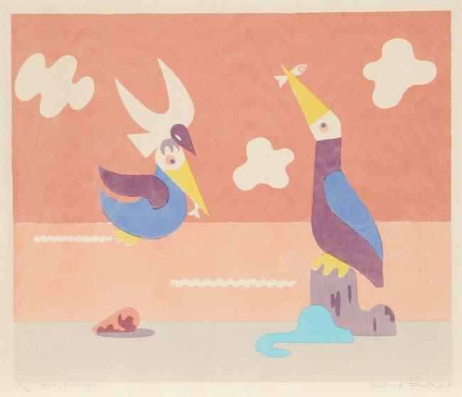 125: Richard Floethe, Birds Fishing, Linocut