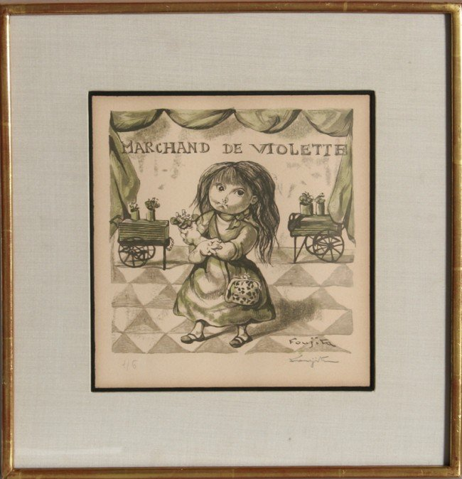 130: Tsuguharo Foujita, Marchande de Violetta, Woodcut