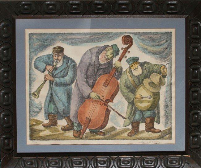 145: Chaim Goldberg, Trio, Lithograph