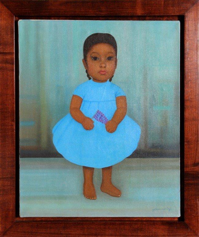 245: Gustavo Montoya, Nina en Azul, Oil Painting