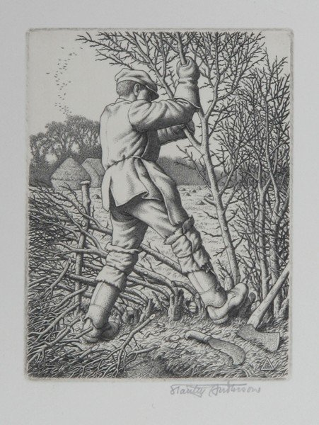9: Stanley Anderson, Hedge-Laying, Engraving