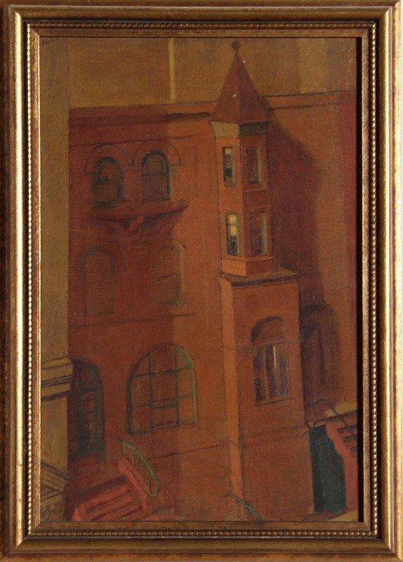 14: Atlas, House on 93rd Street, Oil Painting