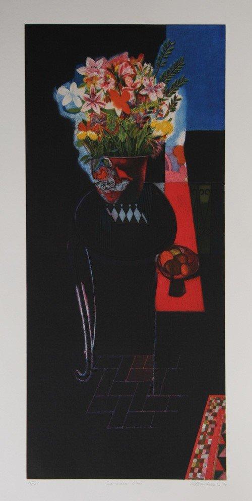 15: Walter Bachinski, Cuernavaca Lillies, Aquatint Etch