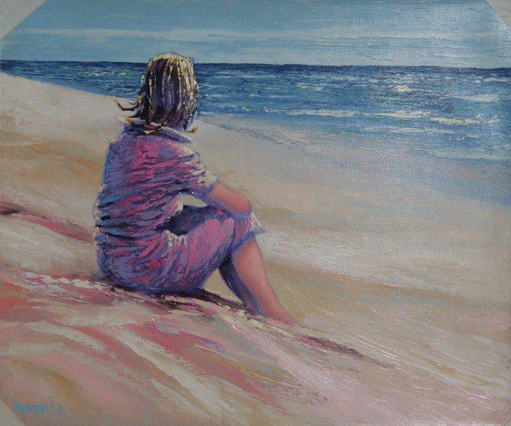 22: Bassari, Girl on Beach, Oil Painting