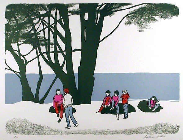 24: Beatrice Seiden, People in the park, Serigraph