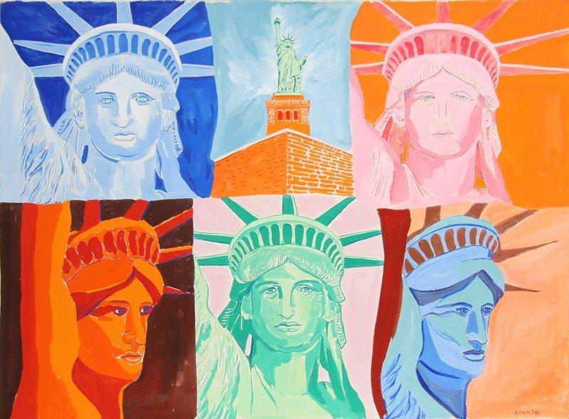 62: Biagio Civale, Statue of Liberty, Acrylic Painting