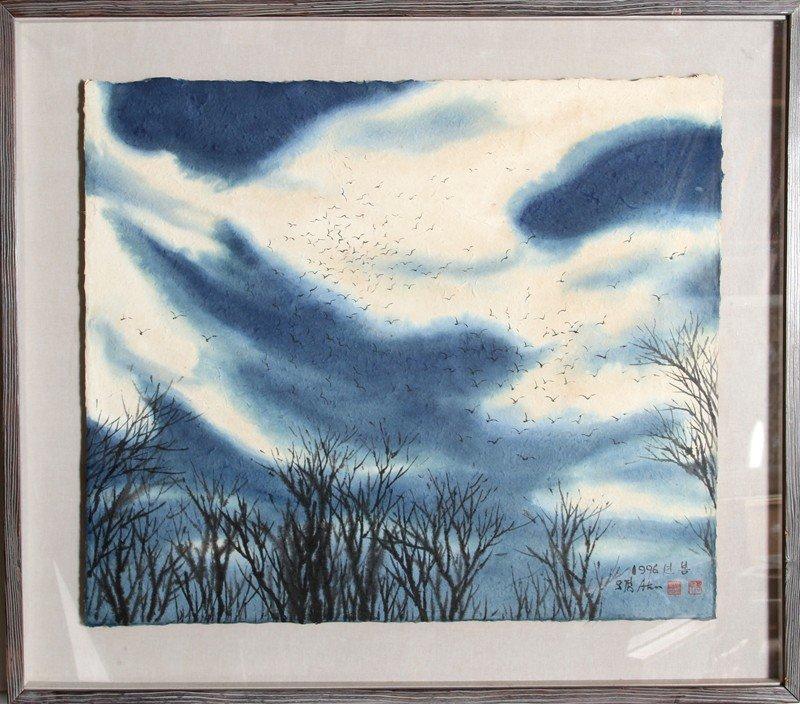 11: Bong-Kyu Ahn, Trees and Sky, Natural Pigment Drawin