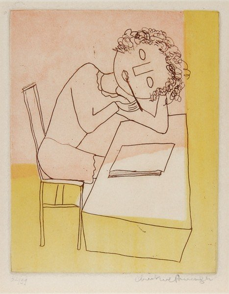 14: Christine Amarger, In thought, Aquatint Etching