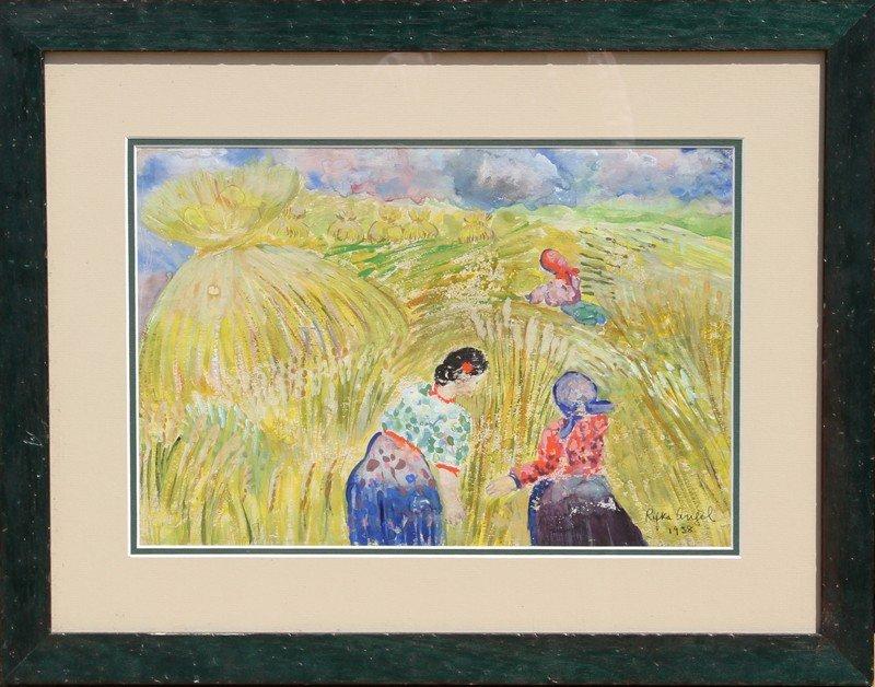 21: Rifka Angel, Peasants, Watercolor