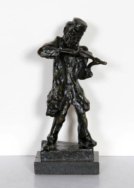 180: Emmanuel Mane-Katz, Fiddler, Bronze Sculpture