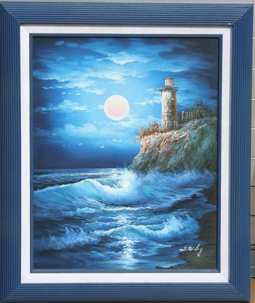 267: W. Riley, Lighthouse, Acrylic Painting