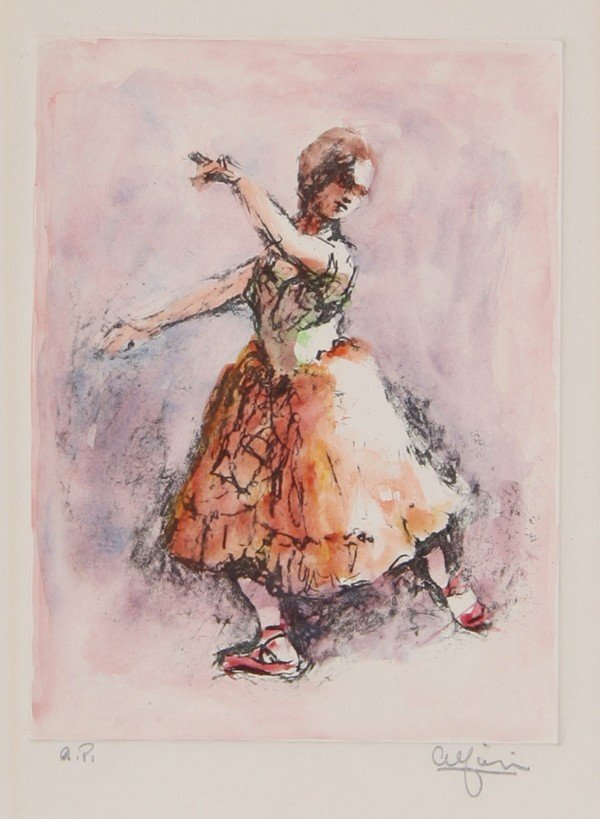 4: P. Alfieri, Dancer 2, Hand-Colored Etching