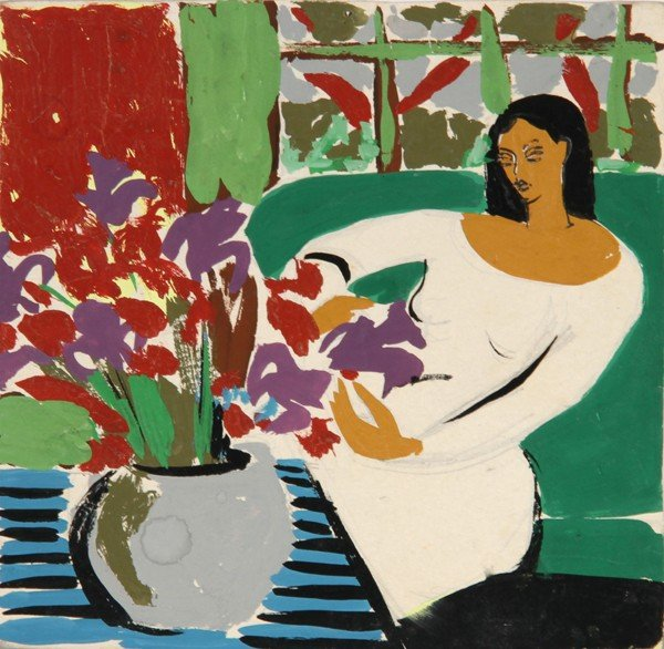 19: Huguette Baudrot, Gouache Painting
