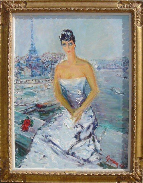 22: Dimitrie Berea, Merle Oberon, Oil Painting