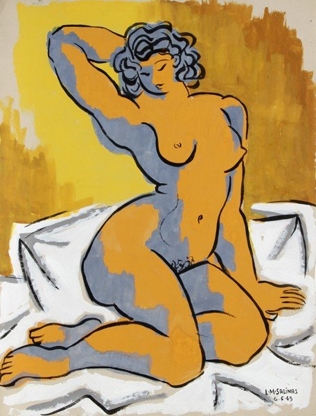 195: Laurent Marcel Salinas, Nude 18, Gouache Painting