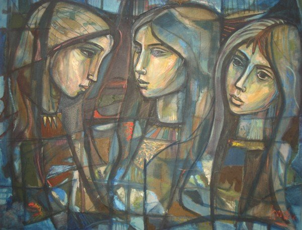 6: Irving Amen, Three Faces of Shelley, Oil Painting