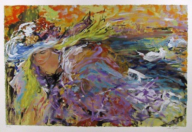 12: Rita Asfour, Purple Strokes, Lithograph