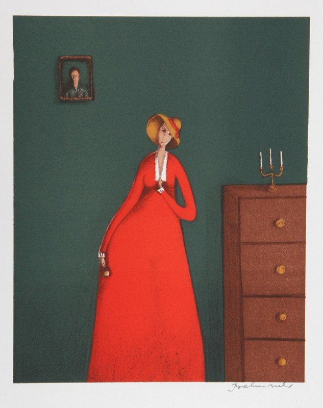16: Branko Bahunek, The Woman in Red, Lithograph